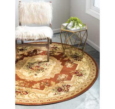 Brick Red Chateau Round Rug