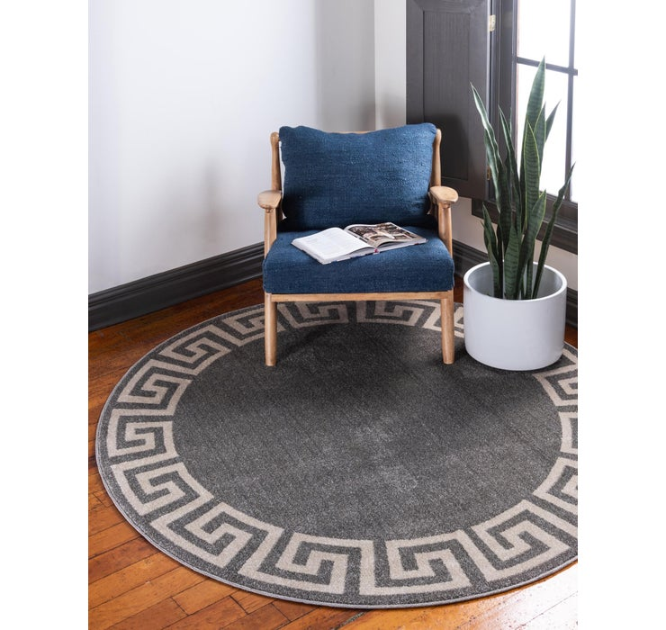 Image of 183cm x 183cm Greek Key Round Rug