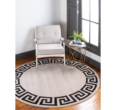 6' x 6' Greek Key Round Rug main image