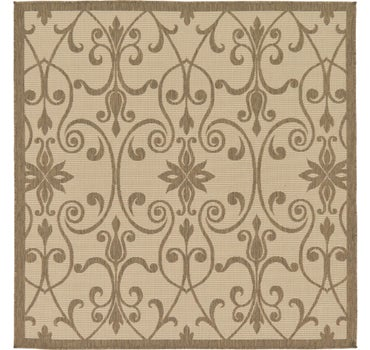 6' x 6' Outdoor Botanical Square Rug main image