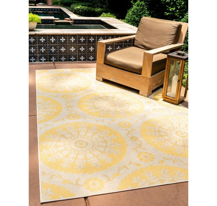 Yellow Outdoor Botanical Rug