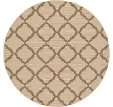 Image of  Beige Outdoor Lattice Round Rug