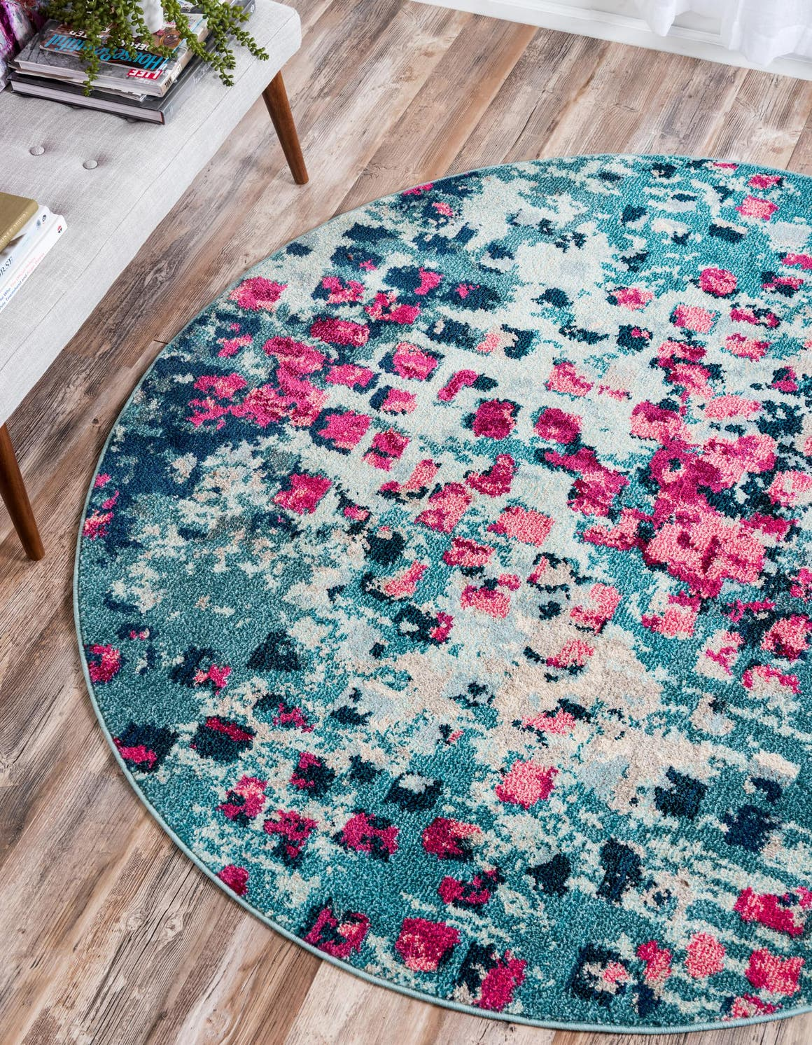 Blue 6 X Barcelona Round Rug Irugs Uk