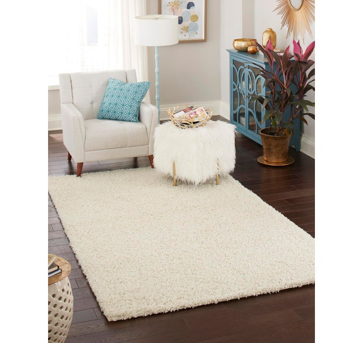 Pure Ivory Solid Shag Rug