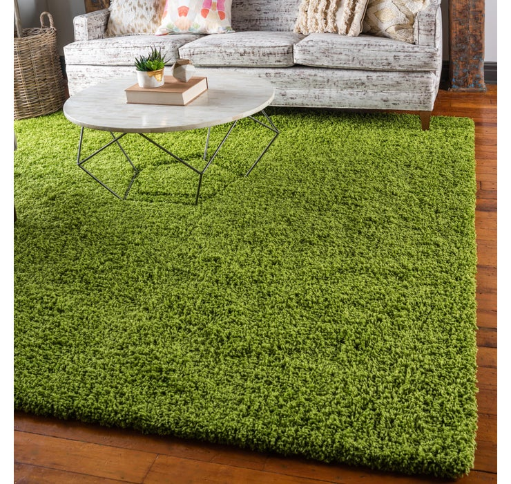 Grass Green Solid Shag Square Rug