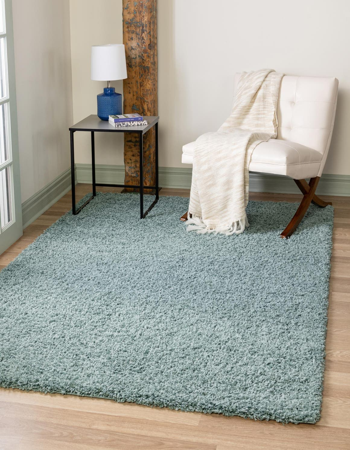 Light Slate Blue 5 X 8 Solid Shag Rug Esalerugs