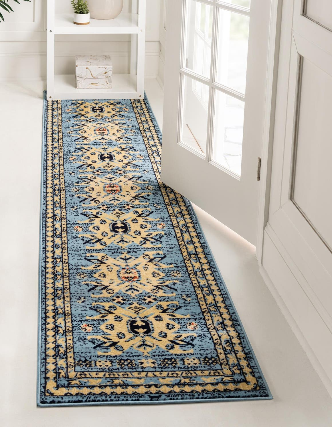 Light Blue 2 2 X 8 2 Heriz Design Runner Rug Esalerugs