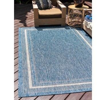 Blue 8 X 11 4 Outdoor Border Rug