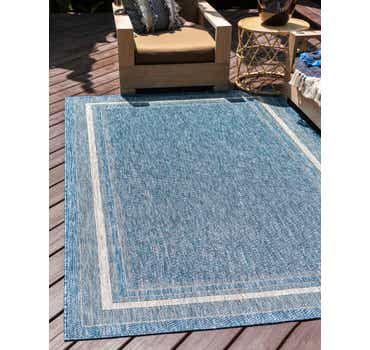 Blue Outdoor Border Rug