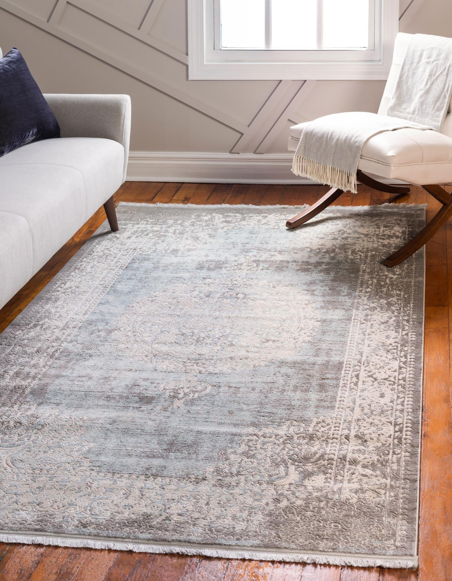 ORIGINAL Designer Rug /'RETRO/' CHEAP Vintage carpets HE184 Flowers beige white