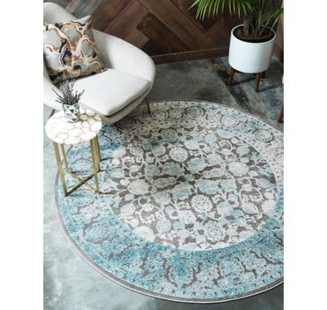 6' x 6' New Vintage Round Rug main image