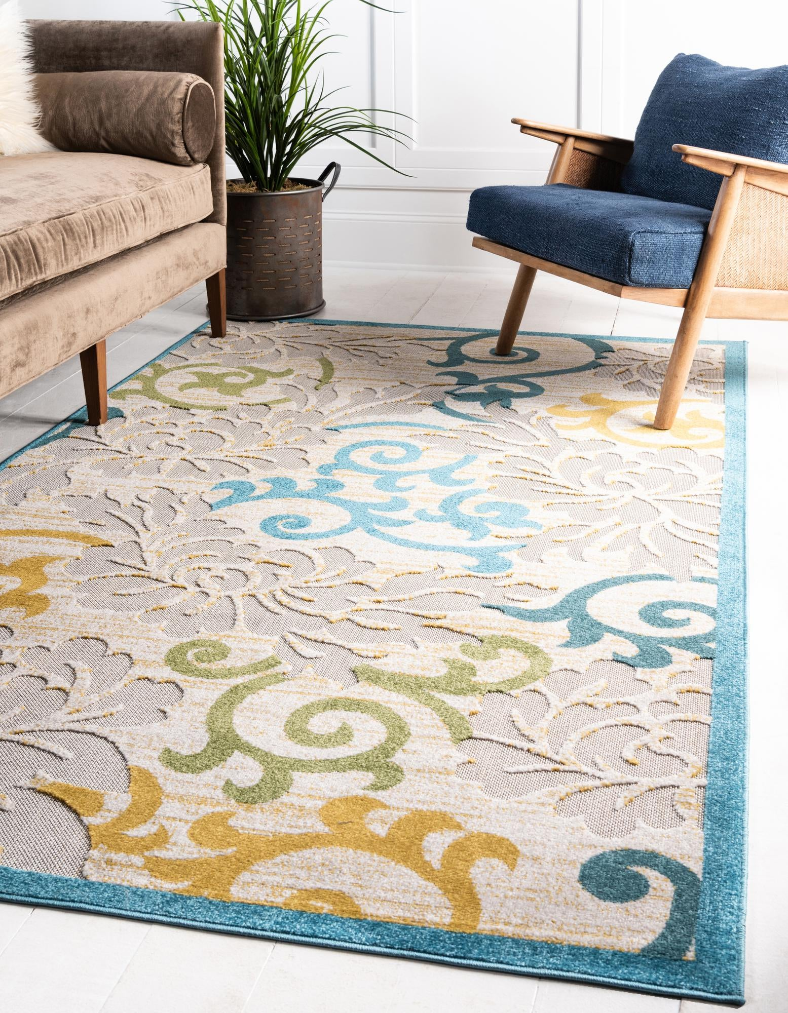 Picture of: Blue 8 X 10 Outdoor Botanical Rug Rugs Com