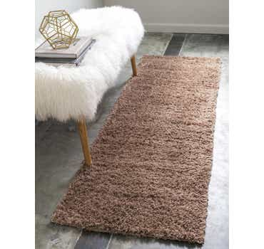 Image of  Brown Solid Shag Runner Rug