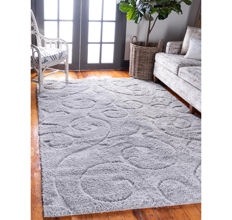 Gray Botanical Shag Rug