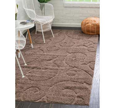Brown Botanical Shag Rug