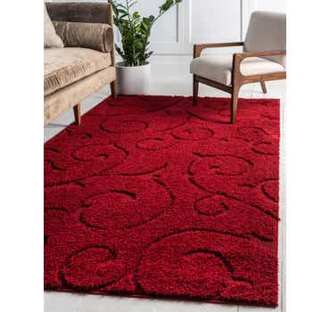 Red Botanical Shag Rug