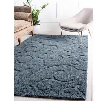 Blue Botanical Shag Rug