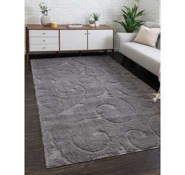 Dark Gray Botanical Shag Rug
