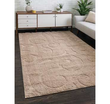 Light Brown Botanical Shag Rug