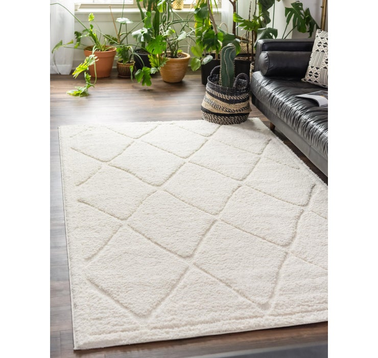 Ivory Lattice Shag Rug