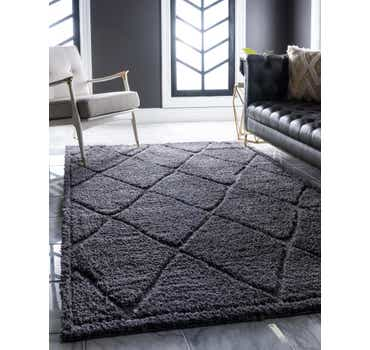 Image of  Dark Gray Lattice Shag Rug