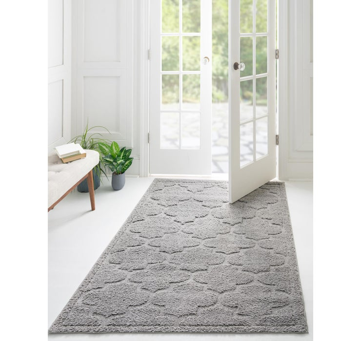 Gray Lattice Shag Rug