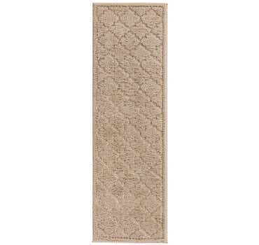 Beige Lattice Shag Runner Rug