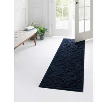 Image of  Navy Blue Lattice Shag Runner Rug