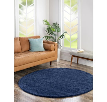 8' x 8' Solid Frieze Round Rug main image