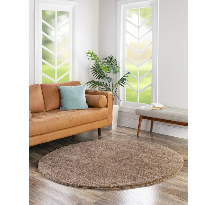 183cm x 183cm Solid Frieze Round Rug