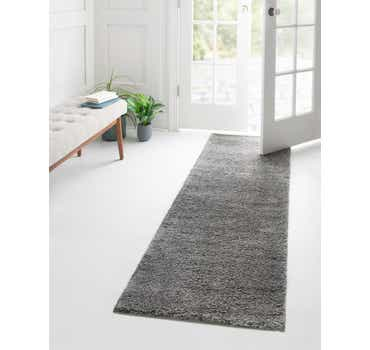 Gray Basic Frieze Runner Rug