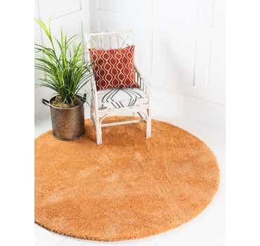 Image of  Orange Basic Frieze Round Rug