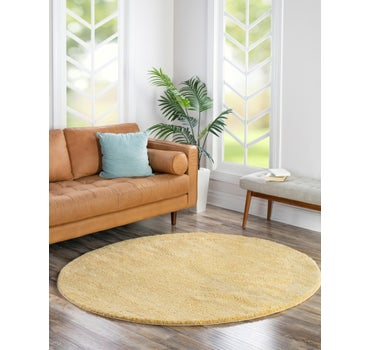 6' x 6' Solid Frieze Round Rug main image