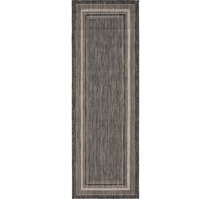 Image of  Black Outdoor Border Runner Rug
