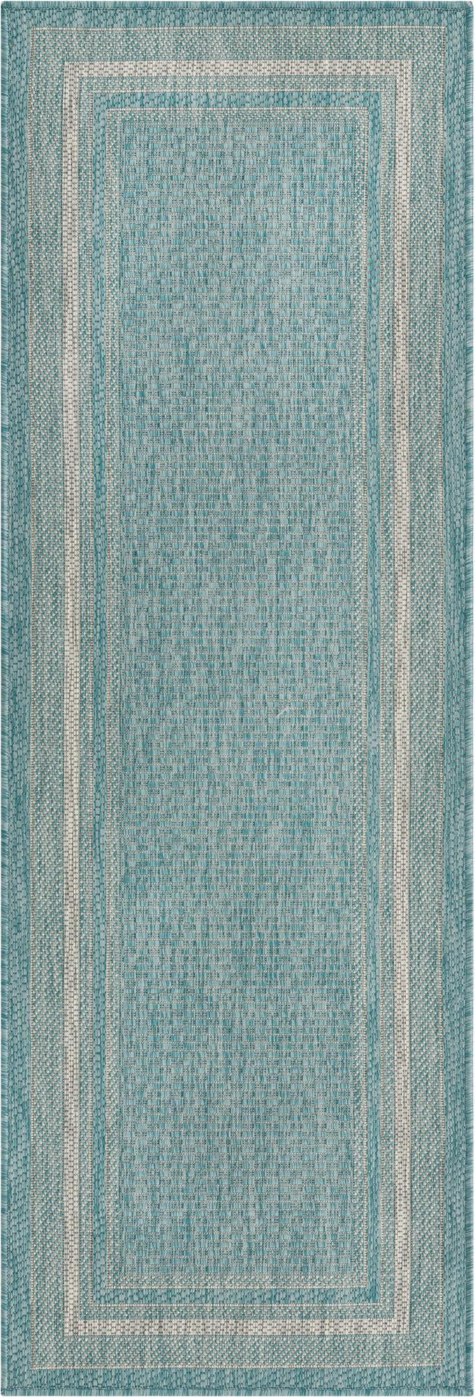 Aquamarine  2' x 6' Outdoor Border Runner