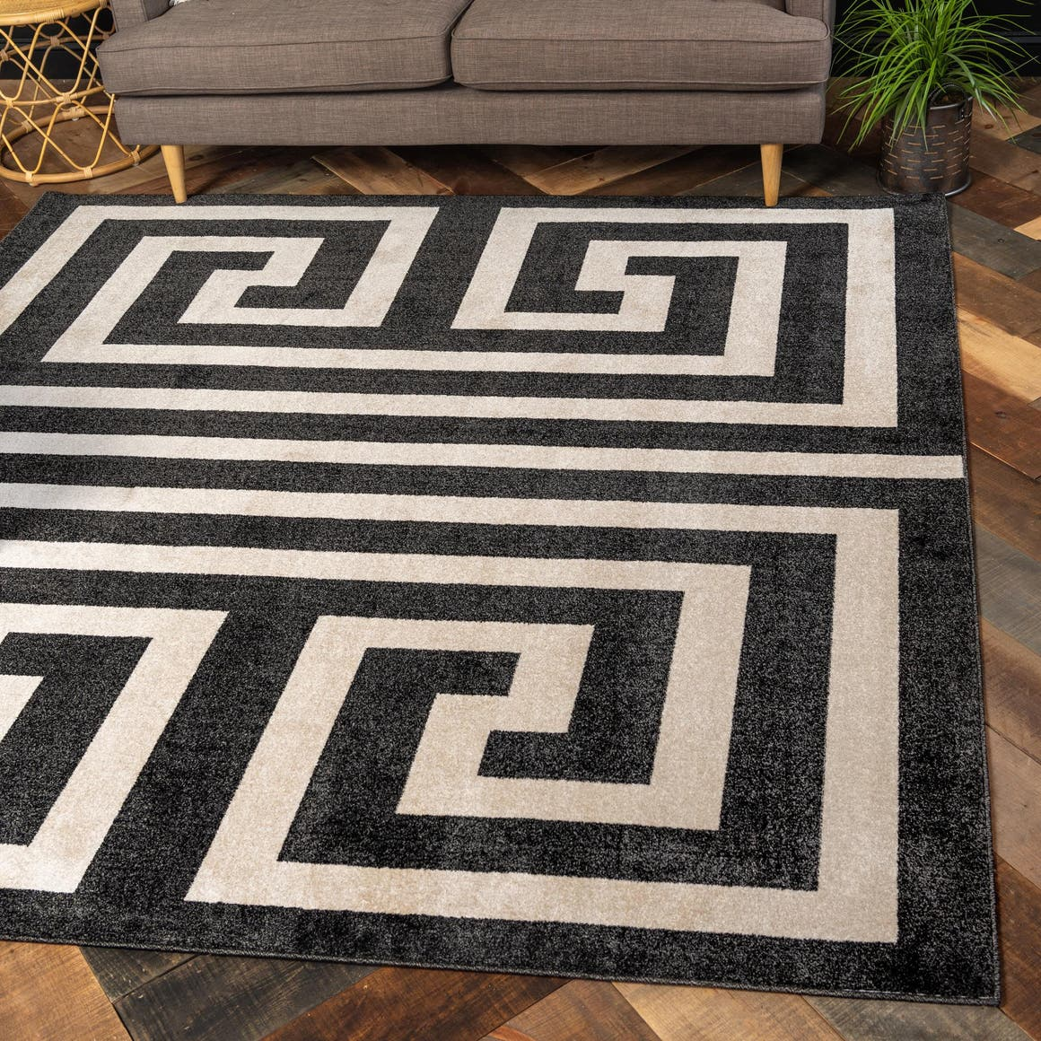 8' x 8' Greek Key Square Rug main image