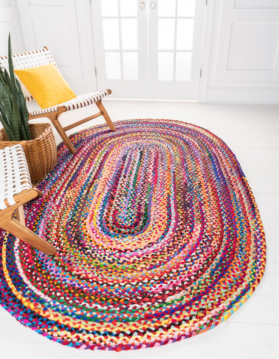 Multi  5' x 8' Braided Chindi Oval