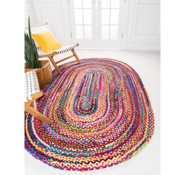 8' x 10' Braided Chindi Oval Rug main image