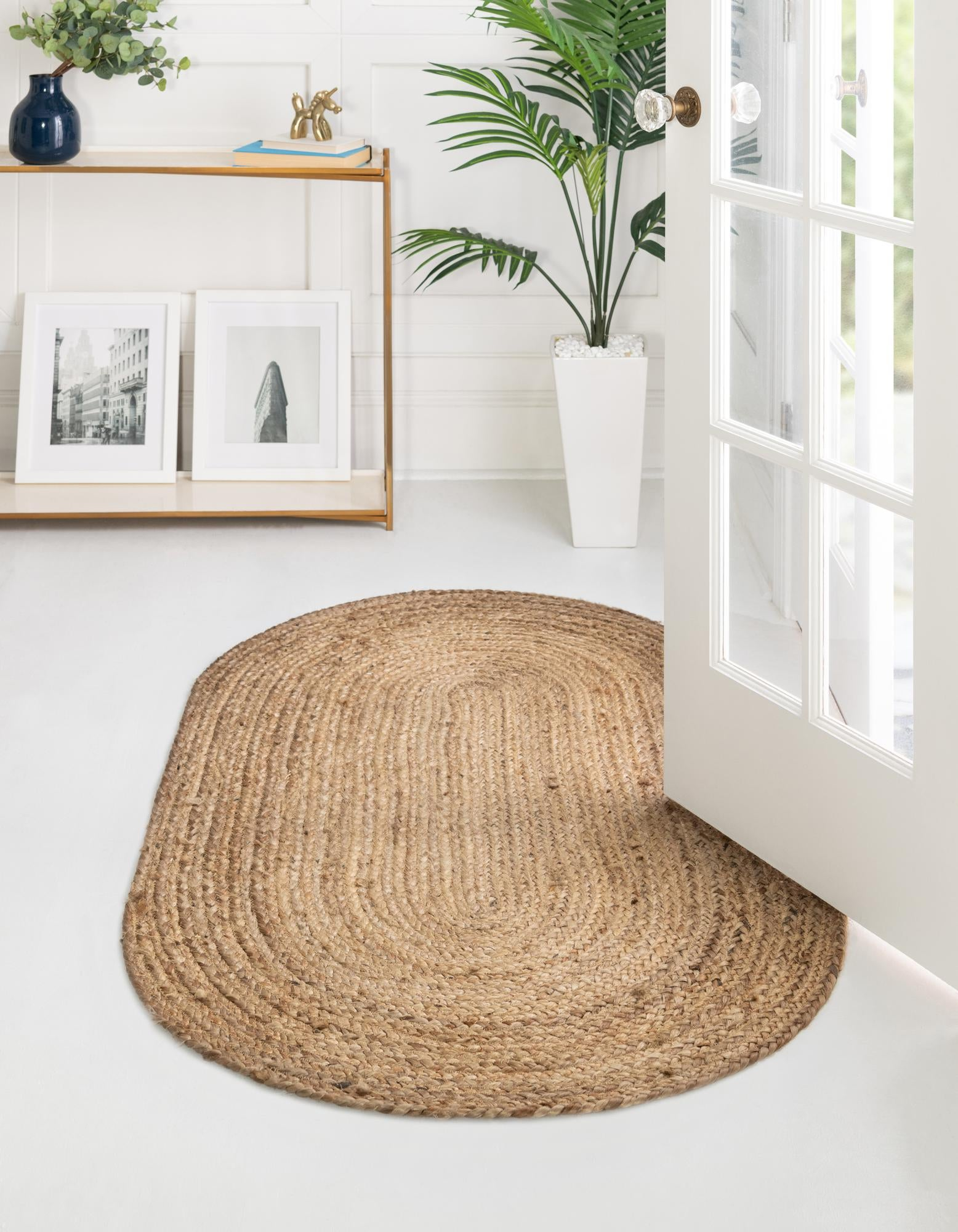 Picture of: Natural 5 X 8 Braided Jute Oval Rug Esalerugs
