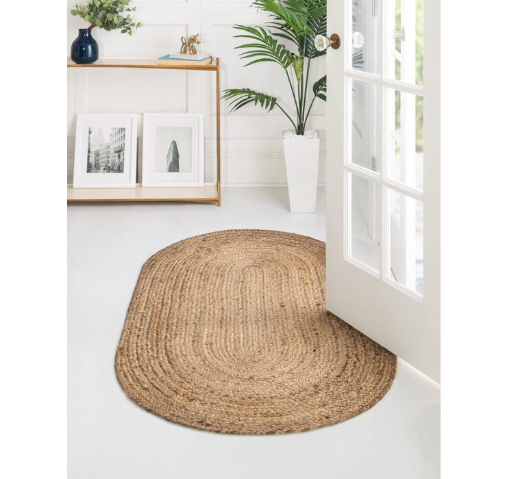 Image of 5' x 8' Braided Jute Oval Rug