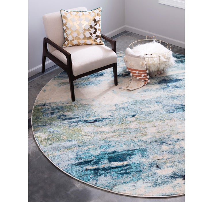 Light Blue Theia Round Rug