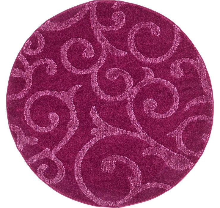 4' x 4' Floral Frieze Round Rug