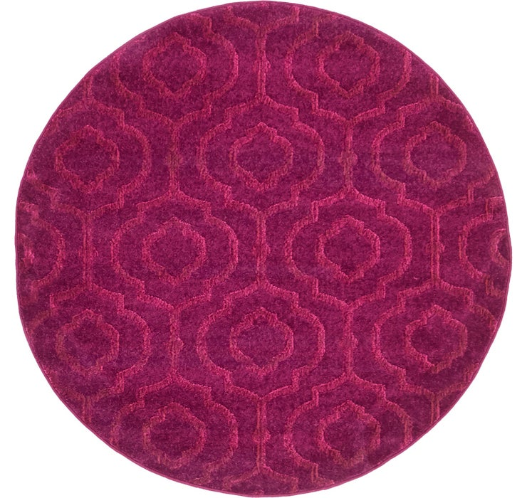 Violet Lattice Frieze Round Rug