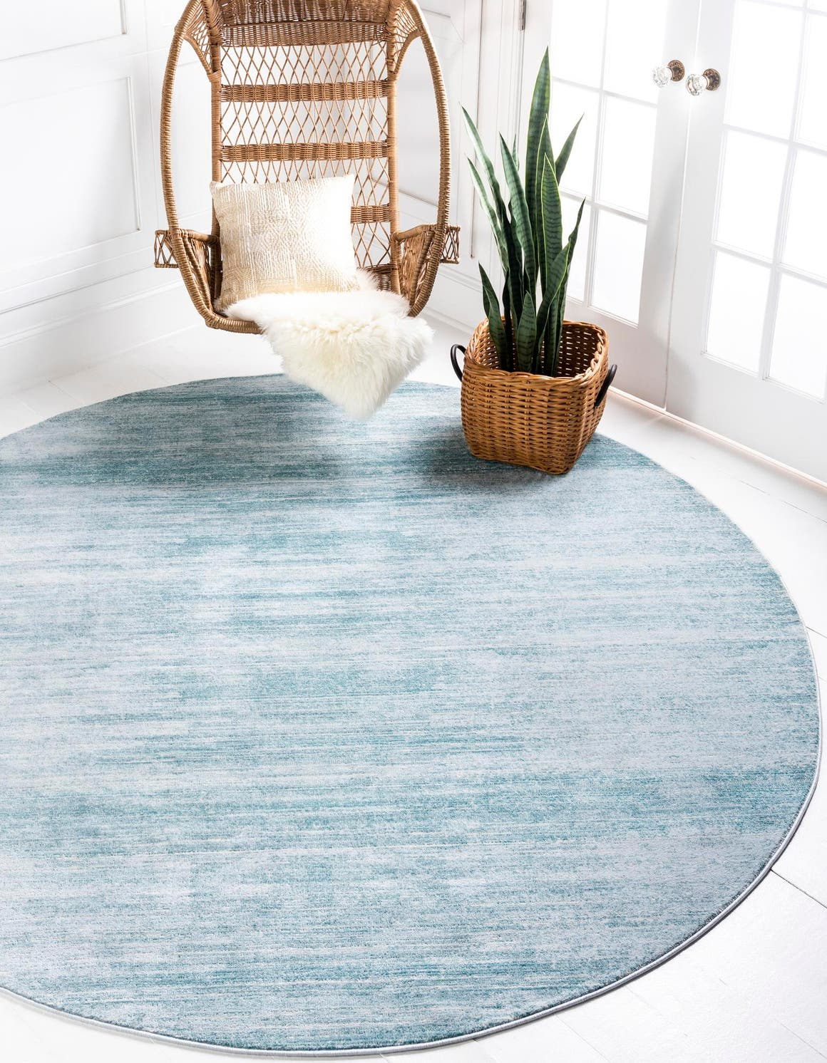 Turquoise Jill Zarin 8 X 8 Uptown Collection Round Rug