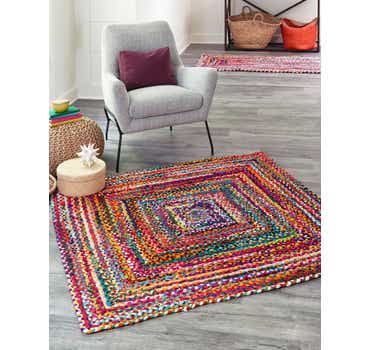 Image of  Multi Braided Chindi Square Rug