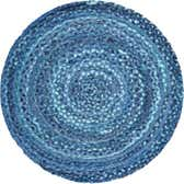 3' 3 x 3' 3 Braided Chindi Round Rug thumbnail