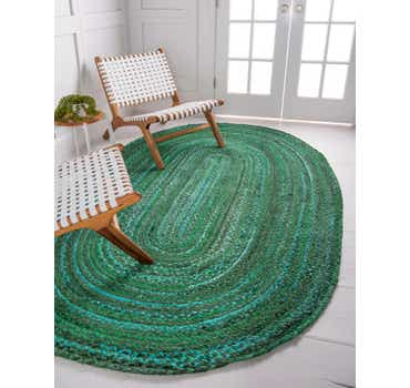 Image of  Green Braided Chindi Oval Rug