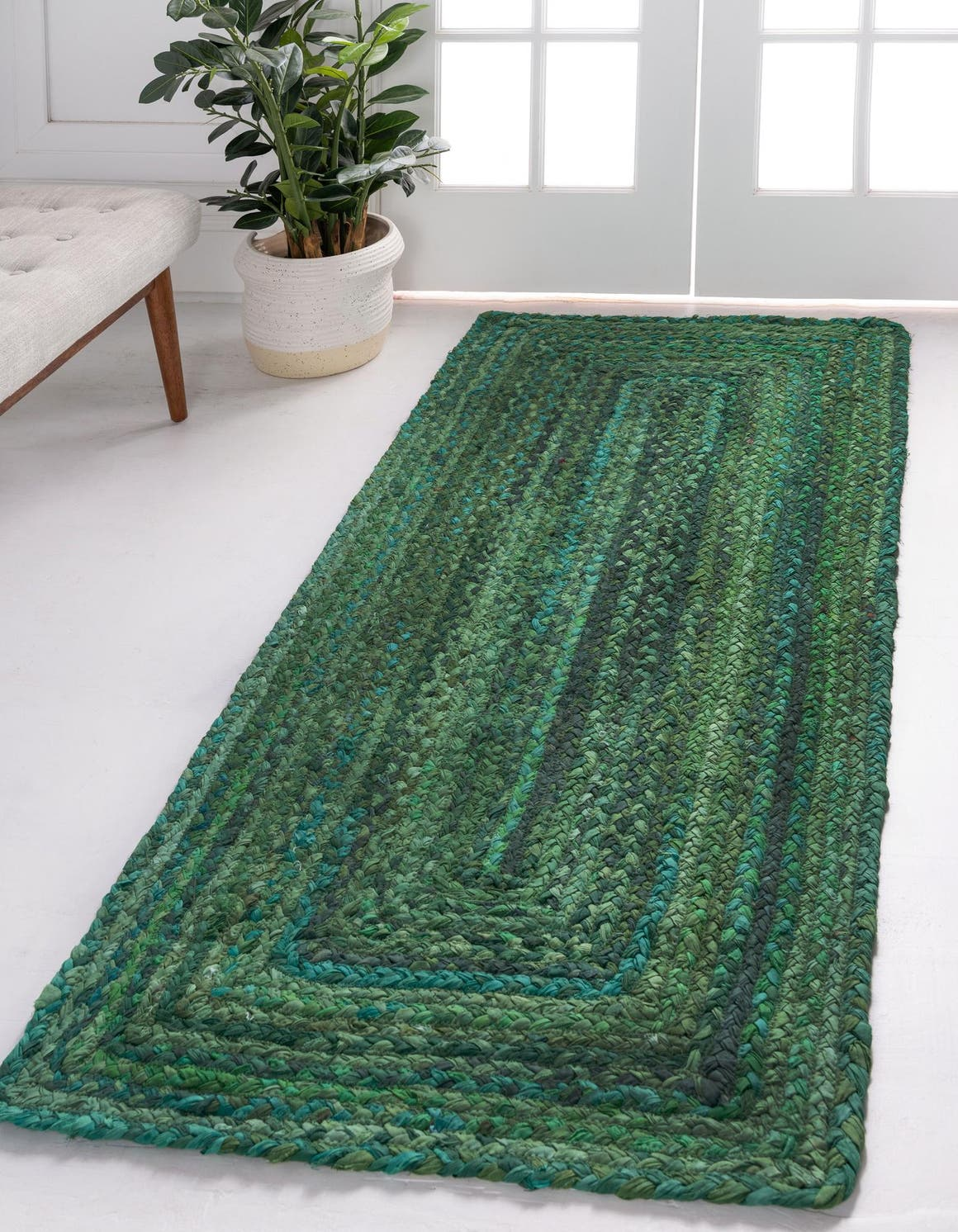 2' 6 x 6' 1 Braided Chindi Runner Rug main image
