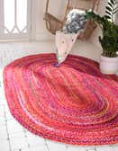 8' x 10' Braided Chindi Oval Rug thumbnail