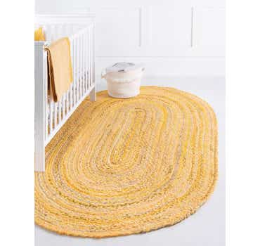 Image of  Yellow Braided Chindi Oval Rug